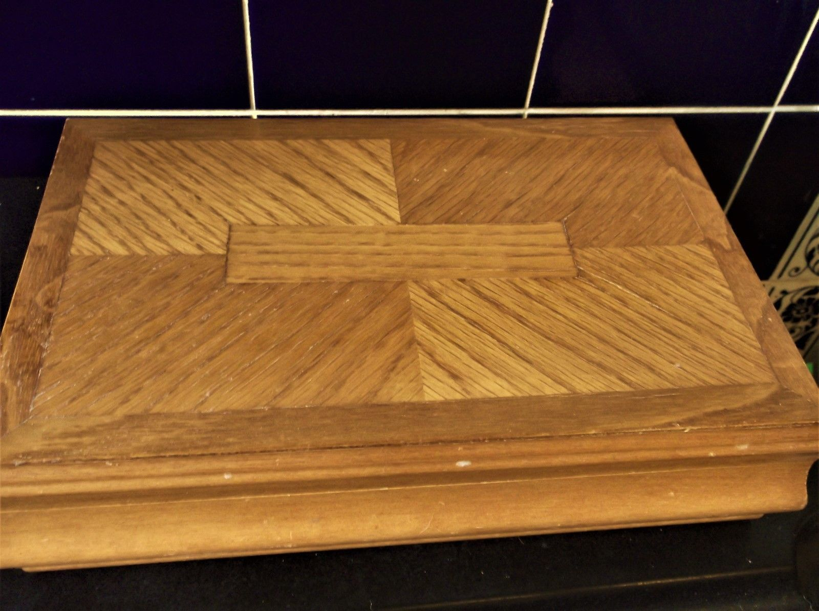 Good Large Size Wooden Jewellery Box Compartments Hooks Unusual